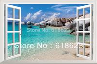 Simulation  pvc fake windows sticker 70*46cm sofa backdrop bedroom   art mural home decor Removable wall sticker  HG-7
