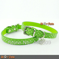 Green Polka Dot PU Leather Dog Collars Cute Puppy Collars With Heart Diamante