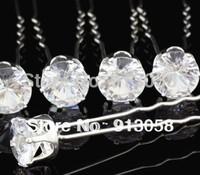 Single Clear Imitation Zirconia  Hair Pins Clips Baby Zircon Hair Jewelry Accessories Bridal wedding jewelry 20pcs