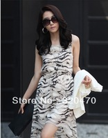 Summer casual women's vest one-piece dress with zebra print irregular sweep A12569