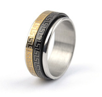 Free shipping wholesale 316L Stainless Steel rings men Double rotatable balck gold pattern jewelry