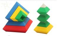 Baby educational early learning toy rhombus blocks plastic pyramid magic cube toy