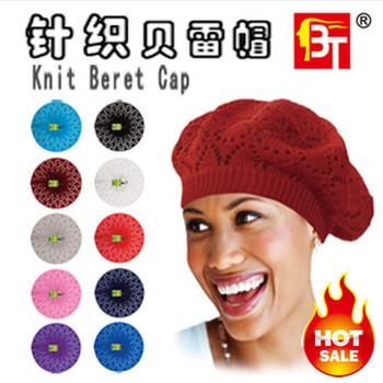 Hot!!Factory Direct Sales!Knitted Cutout Crochet Beret Knit Beret Cap, Mixed Color Berets Hat!Free Shipping
