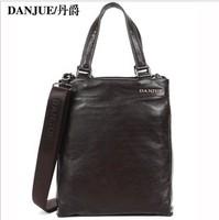 2013 New design Causal Fashion brown Leather genuine leather men's shoulder bag handbag Danjue brand D6021-2
