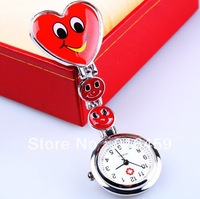 Free shipping nurse cross three Smiling face Quartz heart style hospital doctors easy to carry  fashion  gift watch