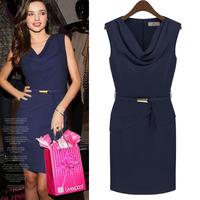 2014 Summer Women's Celeb Dress Sleeveless Chiffon Plus Size Knee Length Bandage Dress Work Office Party Evening Dress 7W00016