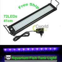 Free Shipping AC 100V~240V 72 LED 7.5W 41cm Aquarium Light 2 Modes Fish Tank Bracket Lamp White Blue Led