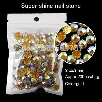 200pcs gold 8mm round Nail Art Decorations DIY Shining Nail/phone Sticker Decoration