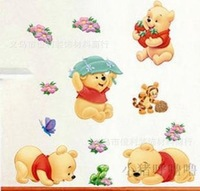 FREE SHIPPING wholesale 5pcs/ lot Cute Bears Vinnie and Puma and Butterflies and Flowers Kids room wall stickers