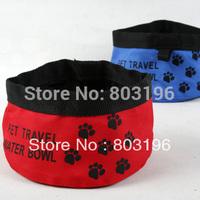 10Pcs/Lot Free Shipping Fashion Pet Travel Water Bowl Portable Pet Waterproof Bowl Oxford Cloth Dog Water Bowl