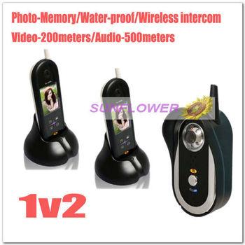 500 meters wireless video/audio color door phone intercom systems/door bells (2 indoor units+1outdoor unit ) EMS Free shipping