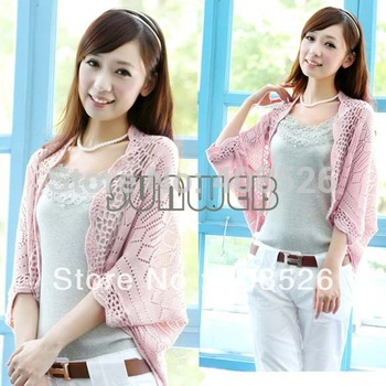 4PCS/LOT New Fashion Korea Women Hollow Sweater Shawl Shrug Jacket Knitwear Cardigan FREE SHOPPING 3327