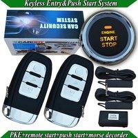 NEW! smart car alarm,push button start/stop,remote start/stop,PKE car alarm,morse decorder,bypass module,car factory standard