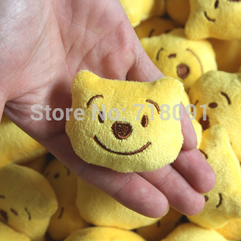 """Small Pendant Plush Stuffed Toy Winnie Head for Promotion Gifts,Wedding Bouquet Parts,2"""",60PCS/LOT"""