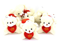"Mini Size,Soft Plush Toy Bear With Heart for Wedding Bouquet Parts,2"",40PCS/LOT"
