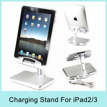 iPega New Aluminium iPega Charging Stand Dock Station Holder for iPad2 & the New iPad /iPad3  Silver Drop Shipping 2014