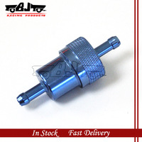 Blue anodized 1/4'' FUEL FILTER WITH BRONZE ELEMENT 40MICRON for motorcycle