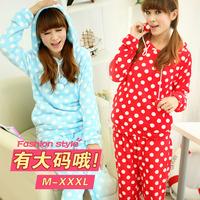 2013 New Autumn winter lovely hooded dot coral full fleece sky blue red women plus size pajamas sleepwear