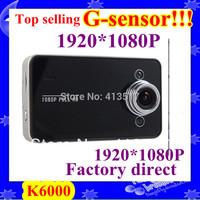 car camera recorder with HD 1920*1080P 25 fps 2.7 inch TFT screen  G- senor  free shipping K6000+Retail Box