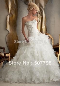 2015 Ball Gown Strapless Brush Beaded Ruffles Corset Back Organza Wedding Dress