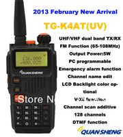 Freeship New 2013 Quansheng TG-K4AT(UV) Dual Band two way radio5W 128CH FM Portable two way CB ham radio quansheng walkie talkie
