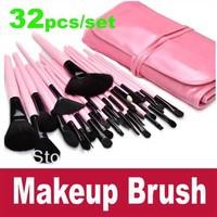 32 Pcs/set Pink Makeup Brush Cosmetic Set Eyeshadow Powder Brush Brushes Case Free Shipping To Brazil Russia