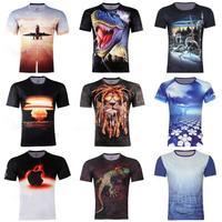 Free Shipping,New Fashion Lion Head Printed Men's 3D Creative T-Shirt,Gothic Punk Three D Short Sleeve Tee Shirt S-6XL,Plus Size