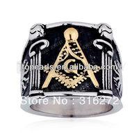 Topearl Jewelry 3pcs Square G & Pillars & Sunshine Masonic Ring Stainless Steel MER05-20