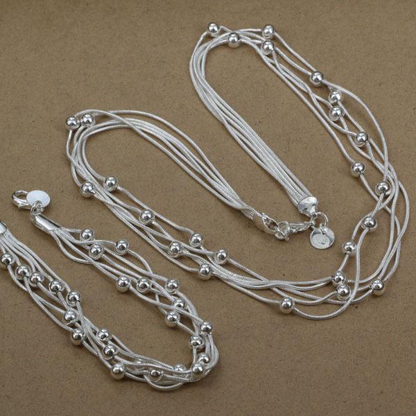 S1063 fashion jewelry sets 925 silver sets pendants bracelet earrings Five-line light beads Piece /ksla tjua(China (Mainland))