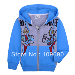 FREE SHIPPING! 6pcs boys light blue Ultraman cotton hoodies 2013 latest fashion style cute clothing wholesale(China (Mainland))