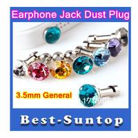Dustproof 3.5mm Diamond Plug Headset earphone Jack Plug  Ear Cap for iphone 4 4S ,for 3.5mm Plug Mobile Phone