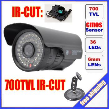 Promotion CMOS 700TVL IR-CUT Filter indoor/outdoor waterproof 36pcs IR Security CCTV Camera with Bracket. Free Shipping