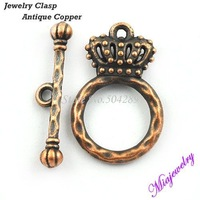 Wholesale Clasps Jewelry Findings  500pcs/lot Antique Copper Alloy14*20 MM Imperial Crown Charm Bracelet Toggle metal clasps