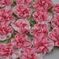 40 Fancy 2 tone Satin Ribbon Flower Appliques-Pink