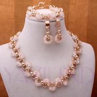 Golden Necklace Earrings Bracelet Clear Crystal Jewelry Set Gr8T As Gift