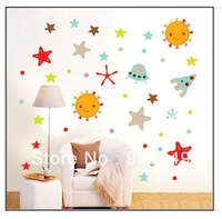 50x70cm Hot Sale decorative wall stickers cute Sun star cartoon DIY wall decal free shipping KC-0080