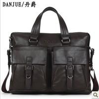 2013 business Fashion fur bags for men genuine leather Briefcases Man bag Leather bag  Danjue brand M8102-1