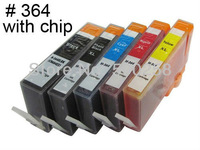 5 pcs New Compatible ink cartridge with chip for HP 364 364XL B8550 C5324 C5383 C6324