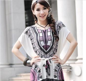 tops for women 2013 summer bohemian bat sleeve dress Ice silk cotton material free shipping