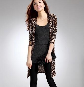2014 spring summer Leopard grain cardigan long-sleeved T-shirt  women top summer free shipping
