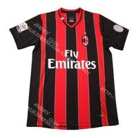 Free shipping 100% Polyester New season 13 14 Thailand quality AC milan soccer jersey home red black