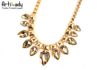 Artilady gold plating with crystal chains necklaces brand statement chains necklaces handmade necklaces accessories