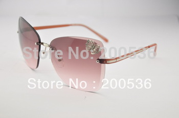 frameless big frame women's sunglasses brand name, decorations butterfly,s144