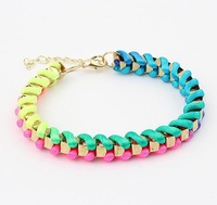 Min. order is $10(mix)  simple color woven bracelet fashion women bracelet wholesale 2013