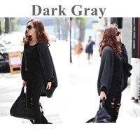 2014 New Fashion Stylish Women's Batwing Cape Poncho Cardigan Sweater Knit Tops Shawl Coat Dark Gray