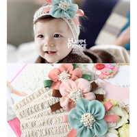 5pcs/lot Girls Infant Head Band Flower Snap back Baby Hairband Hair Band Ribbon Knit Lace Hairwear