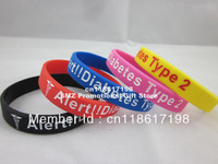 Type 2 Diabetic Medical Alert Silicone Wristband, silicon brace for diabetes group, 100pcs/lot, free shipping