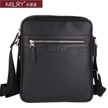 Free Shipping Italian designer Brand MILRY PVC shoulder Messenger Bag for men fashion business bag cross body black S0140-1