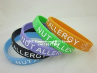 NUT ALLERGY Medical ID Alert Bracelet, Silicon Wristband, 5colour, 100pcs/lot, free shipping