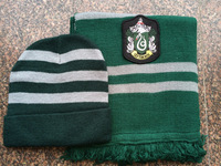 Christmas gift HARRY POTTER SLYTHERIN SCARF AND HAT SET(SLIM STRIPED) Draco Malfoy Cosplay Accessory